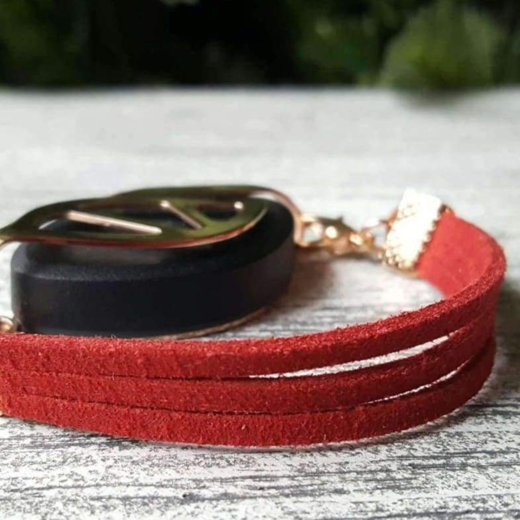 Scarlet Red Faux Suede Bellabeat Leaf Bracelet