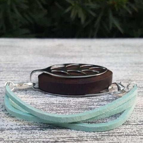 Teal Soft Suede Bellabeat Leaf Bracelet