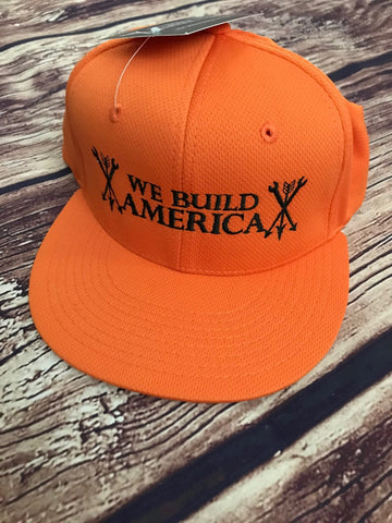 Orange Flatbill OG We Build America Logo