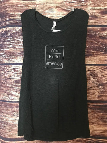 Women's Dark Grey Squared Tank (with White)