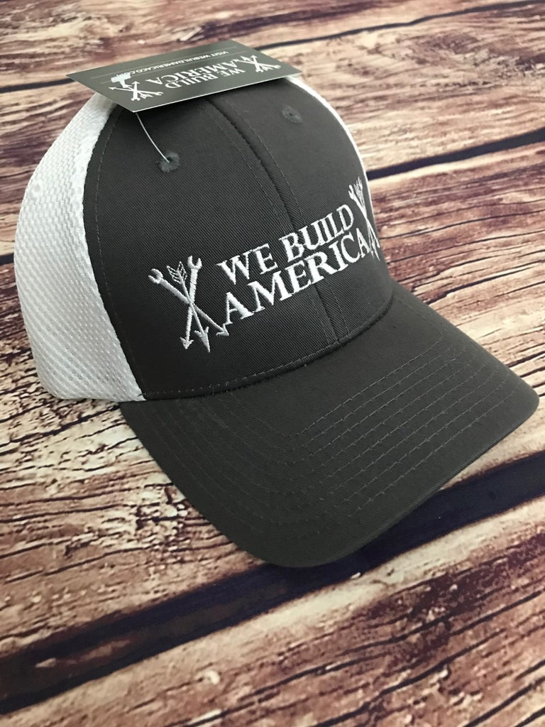 Aeromesh Grey & White with White We Build America Logo