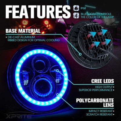 "7"" LED Headlights Housing RGB - Car Lighting District"