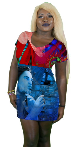 Imagination and Thought V-Neck T-Shirt Dress