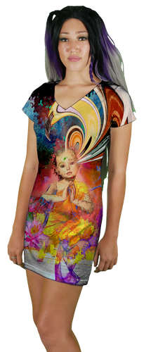 Little Buddha Energy V-Neck T-Shirt Dress