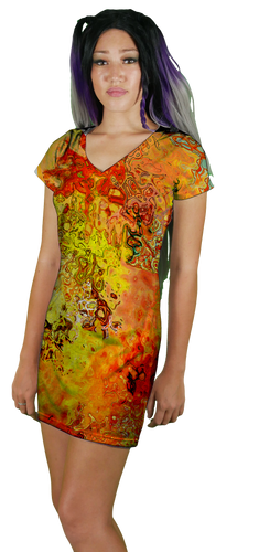 Fire Bubble V-Neck T-Shirt Dress