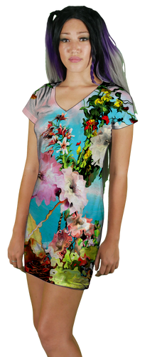 VNeck TShirt Dress Womens All Over Print Short Sleeve