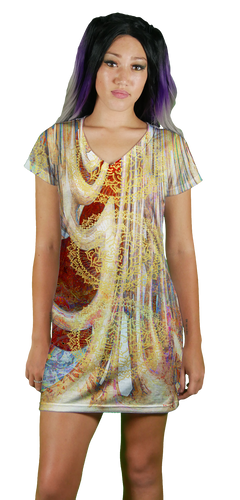 Image of Peace V-Neck T-Shirt Dress