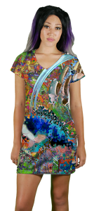 Psyco Fish V-Neck T-Shirt Dress