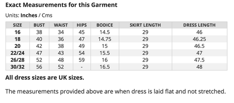 Measurements of actual Ursula Dresses.  They will stretch a couple more inches.