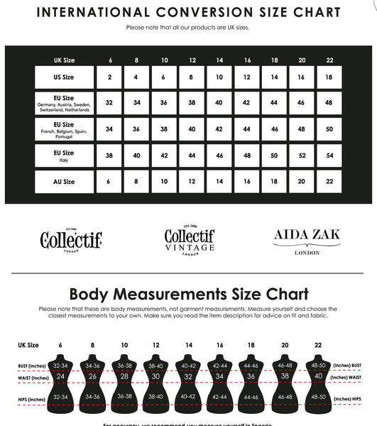 Image result for collectif size guide