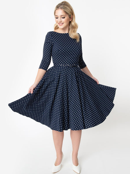 Devon Swing - Navy Pindot