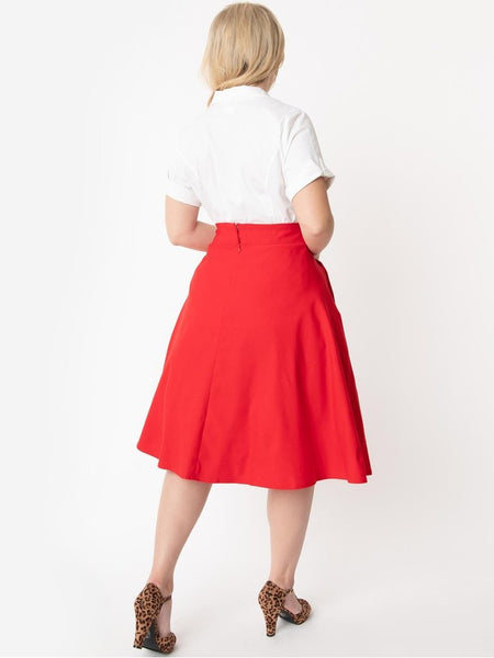 Vivien Swing Skirt - Retro Red