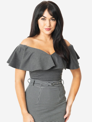 Frenchie Ruffle Top - Grey