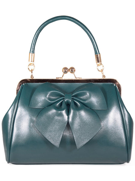 Lockwood Bow Handbag - Dark Teal