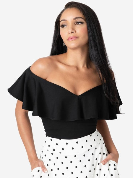 Frenchie Ruffle Top - Black