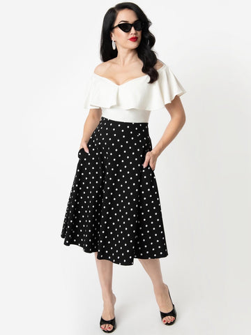 Vivien Swing Skirt - Black Polka