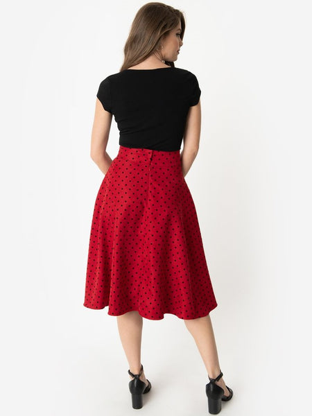 Vivien Swing Skirt - Red Polka