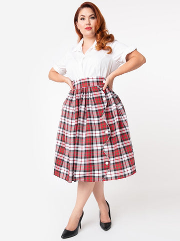 Romero Swing Skirt - Scallop Plaid