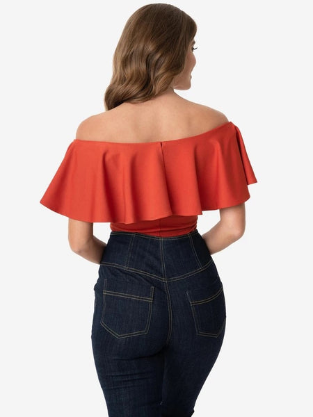 Frenchie Ruffle Top - Paprika