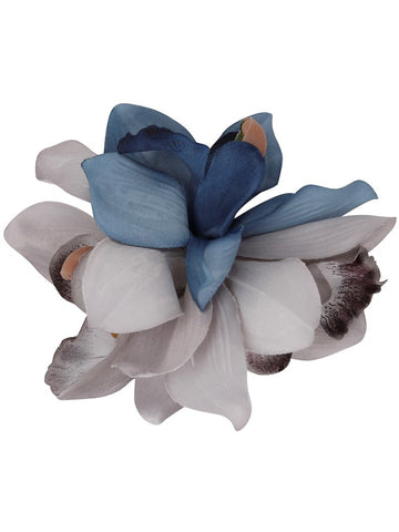 Aaliyah Orchid Hair Flower - Grey/Blue