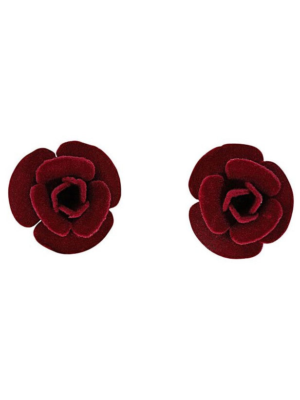 Velvet Rose Earrings - Burgundy