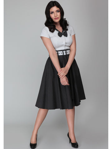 Clair Swing Skirt - Black Pindot