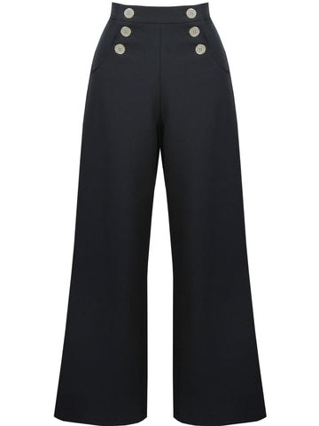 Retro Sailor Slacks - Black