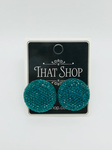 Round Sparkle Earrings - Teal