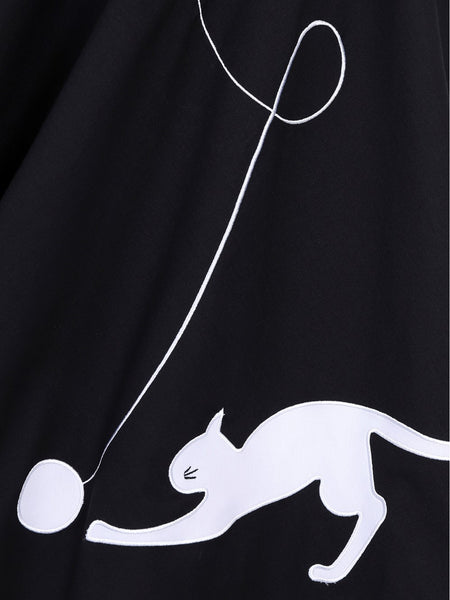 Kitty Cat Swing Skirt - Black