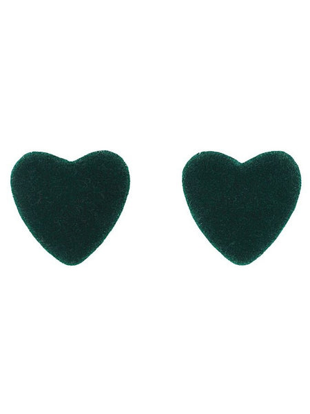 Velvet Heart Earrings - Green