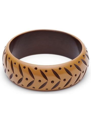 Wide Almond Carved Duchess Bangle