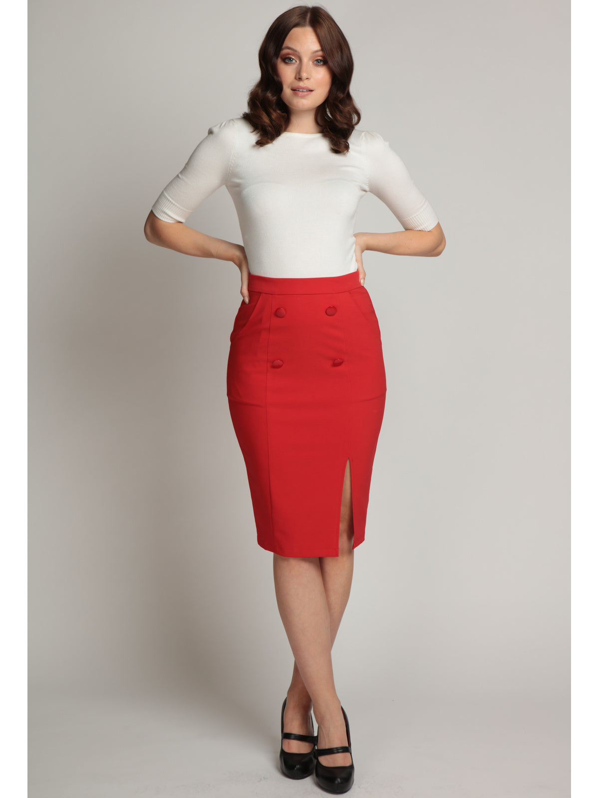 Simona Pencil Skirt - Red