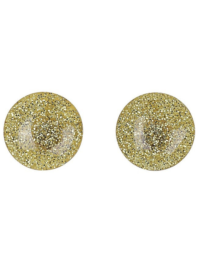 Sparkly Dome Earrings - Gold