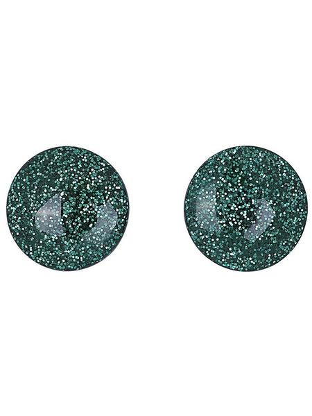 Sparkly Dome Earrings - Green