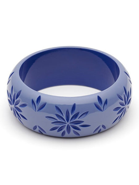 Wide Forget-Me-Not Carved Bangle