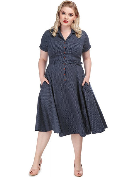 Caterina Swing - Navy Pindot