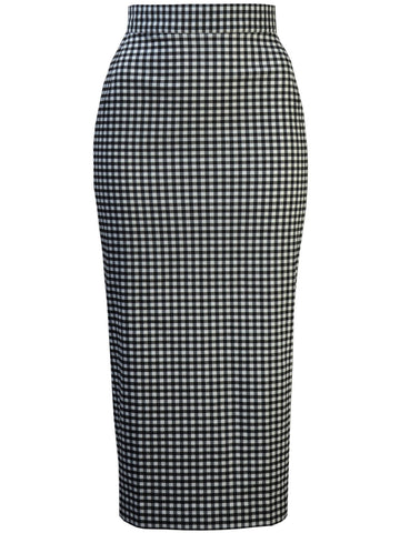 Retro Pencil Skirt - Gingham