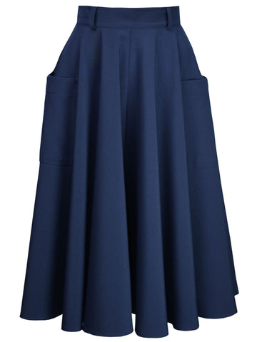Retro Circle Skirt - Navy
