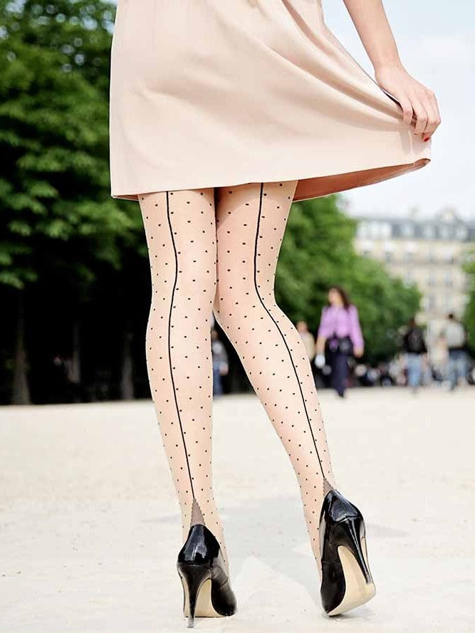 Seamed Tights - Nude / Dotty