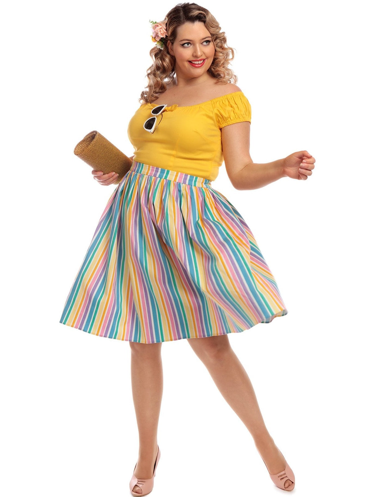 Jasmine Swing Skirt - Rainbow Stripe