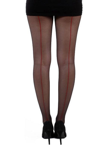 Seamed Tights - Blk/Red
