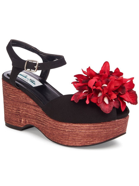 Kellie Flower Wedge - Black