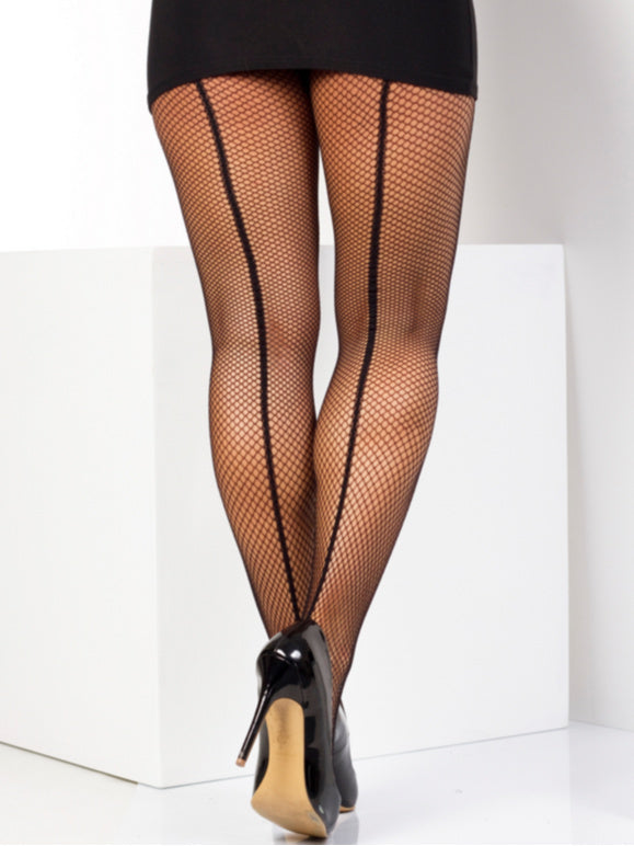 Fishnet Seamed Tights - Blk/Blk