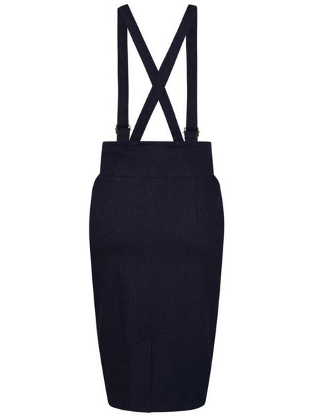 Nomi Dungaree Pencil Skirt - Navy