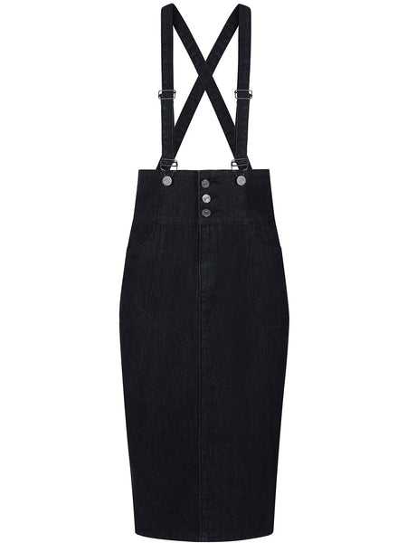 Nomi Dungaree Pencil Skirt - Black