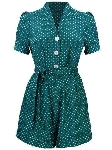 Pretty Playsuit - Emerald Polka