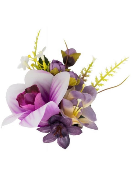 Orchid Cluster Hairclip - Purple