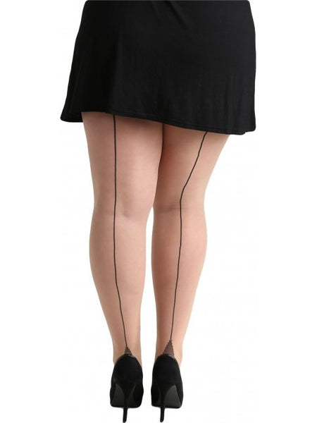 Seamed Tights - Nude / Blk