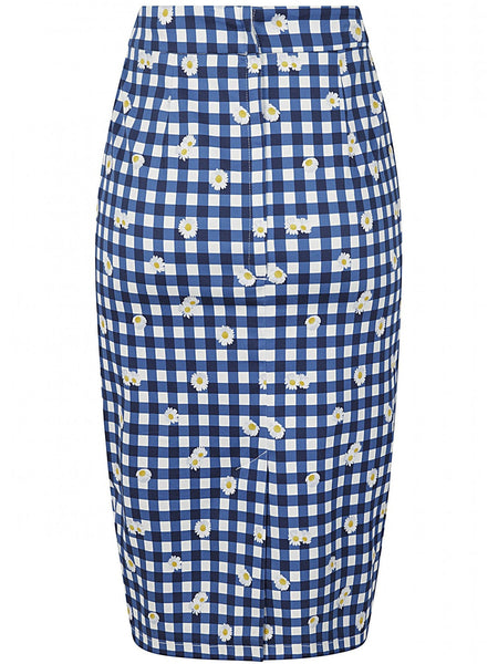 Polly Pencil Skirt - Gingham Daisy