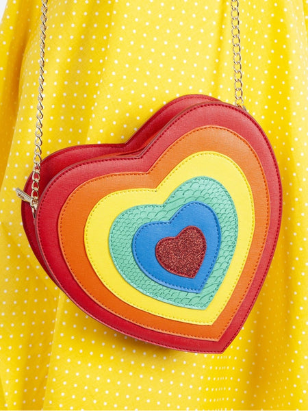 Rainbow Heart Crossbody Handbag